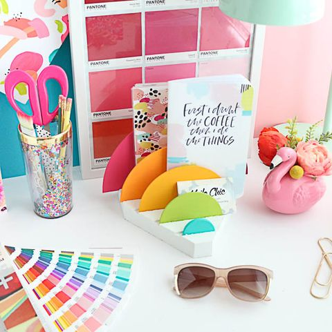 back to school diy craft rainbow desk organizer