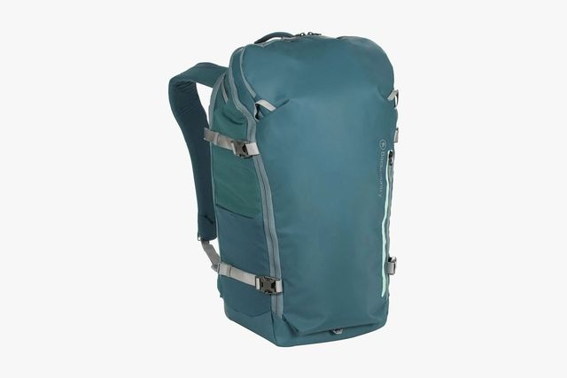 a blue travel backpack