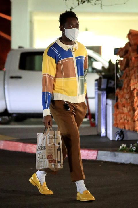 beverly hills, ca    exclusive tyler, the creator was spotted shopping for groceries wearing a yellow sweater and matching shoes at bristol farms in beverly hills tyler is wearing a uniqlo face maskpictured tyler, the creatorbackgrid usa 8 december 2020 usa 1 310 798 9111  usasalesbackgridcomuk 44 208 344 2007  uksalesbackgridcomuk clients   pictures containing childrenplease pixelate face prior to publication
