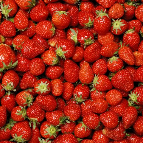 background,  hundreds of ripe strawberries