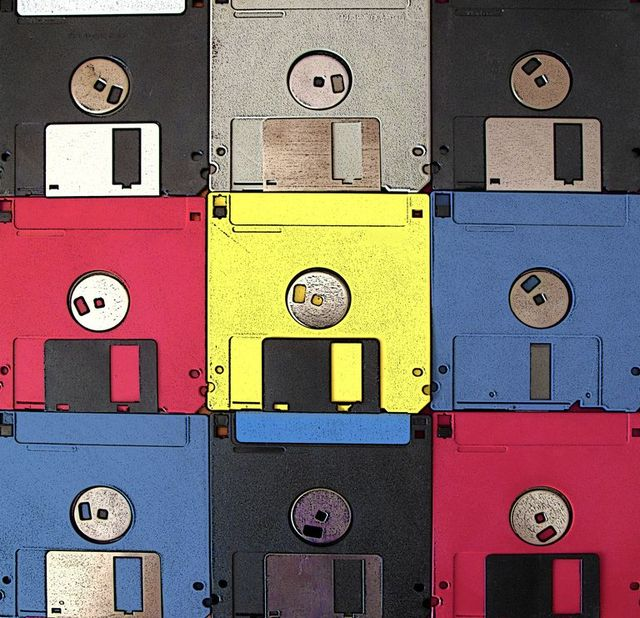 background made of vintage colored floppy disks