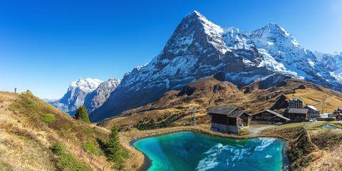 Backpacker take a photo of Jungfrau peak, top of Europe, at Kleine Scheidegg, Switzerland