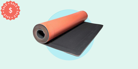 Yoga mat, Mat, Orange, Roof, Flooring, Sports equipment, Floor, Material property, Textile, Plastic,