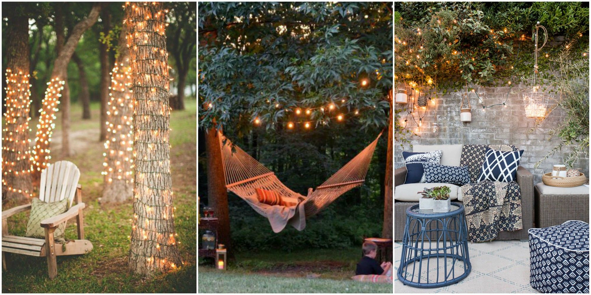 outdoor string lights & 20 Backyard Lighting Ideas - How to Hang Outdoor String Lights