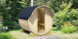 backyard wooden sauna