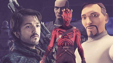 los personajes del universo star wars darth maul, cassian andor, bail organa y rex