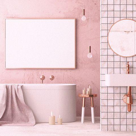Pink, Tile, Room, Wall, Bathroom, Material property, Interior design, Floor, Flooring, Bathroom accessory,