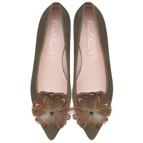 Footwear, Ballet flat, Shoe, Brown, Beige, Slipper, Court shoe,
