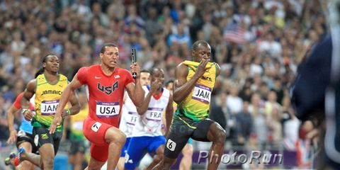 Final of the 4 x 100-meter men's relay at the 2012 Olympics