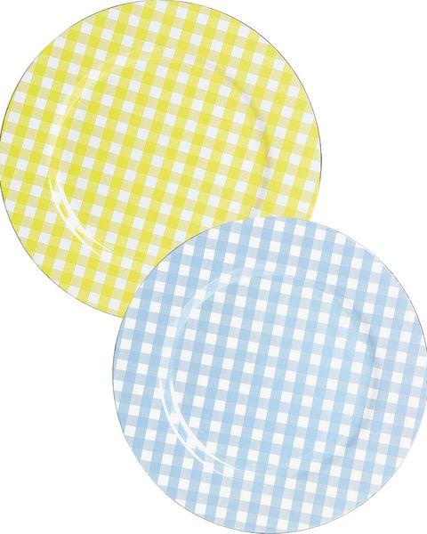 Bajoplatos de cuadros vichy en azul y amarillodeZara Home