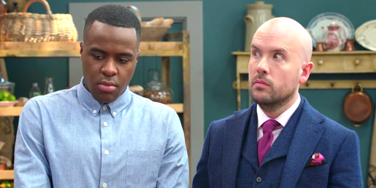 Bake Off: The Professionals host Tom Allen has a hilarious reaction to judge's harsh critique