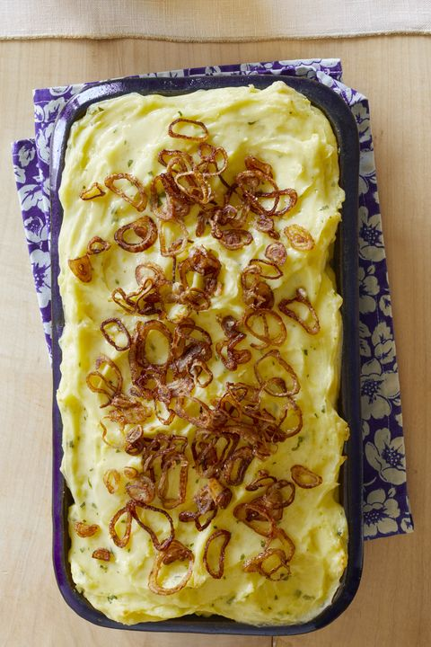 baked mashed potatoes with crispy shallots