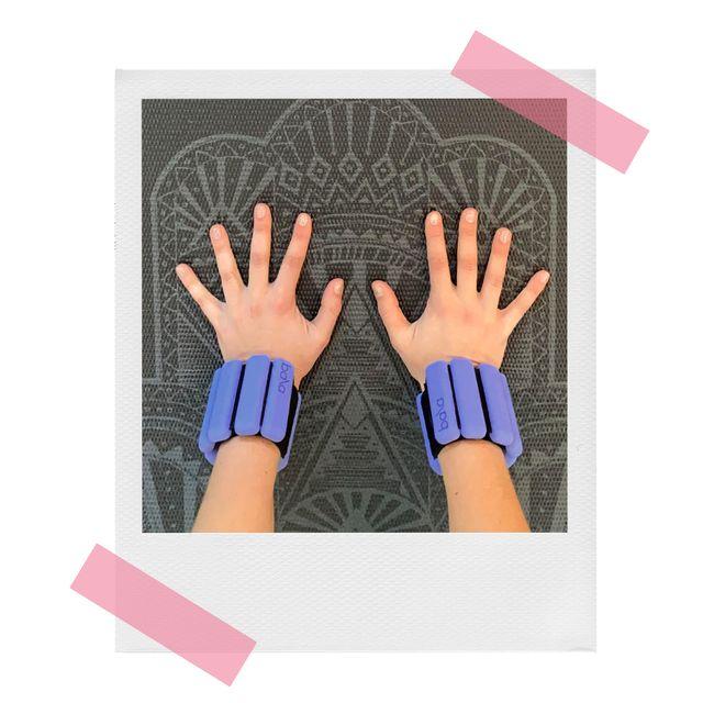 melanie wearing bala bangles on wrists