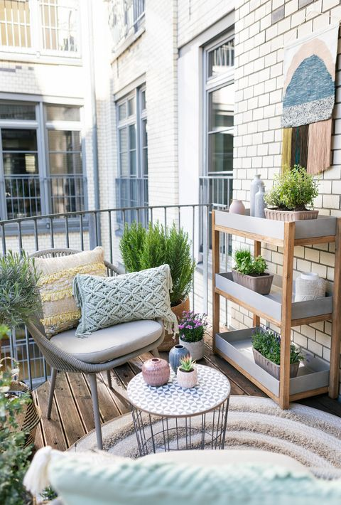 balcony ideas   small space balcony makeover, featuring boho styling, soft pastels and lots of layered texture