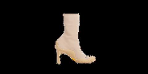 Footwear, Boot, Beige, Shoe, Suede, High heels, Knee-high boot, Leather,