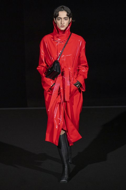 Fashion model, Fashion, Clothing, Red, Runway, Outerwear, Fashion show, Fashion design, Haute couture, Latex clothing,