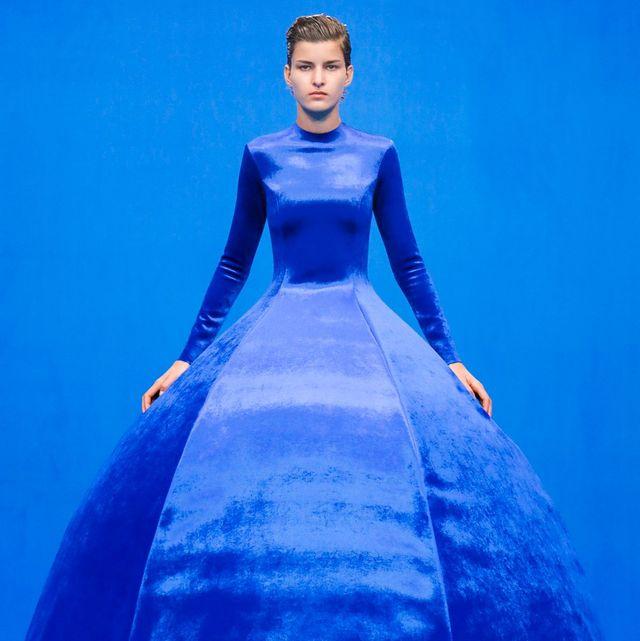 balenciaga springsummer 2020 classic blue structured ball gown