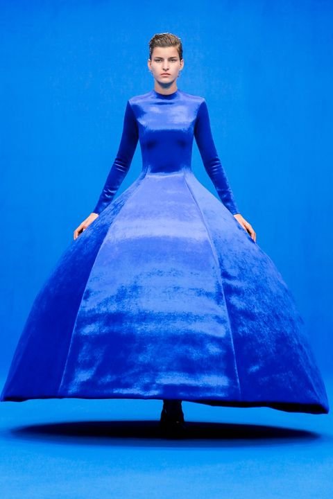 balenciaga springsummer 2020 classic blue structured ball gown