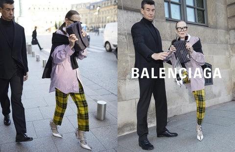 Street fashion, Fashion, Clothing, Footwear, Yellow, Leggings, Snapshot, Knee, Tights, Pattern,