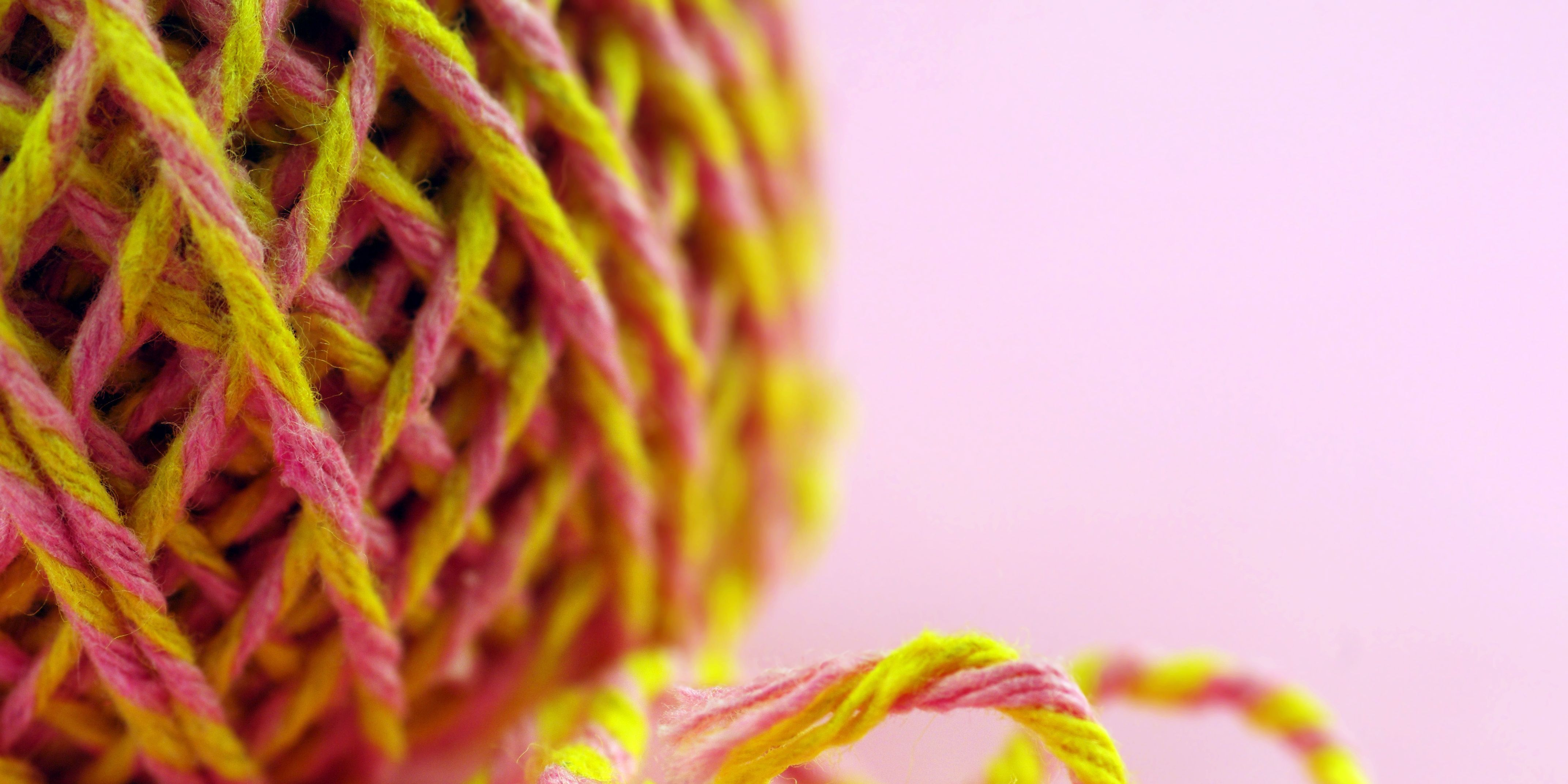 Ball of Pink and Yellow String, Extreme Close-Up