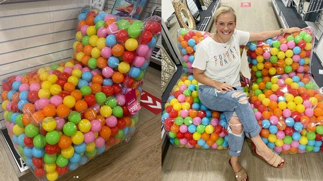 ball pit chair in a homegoods store and with someone sitting in it