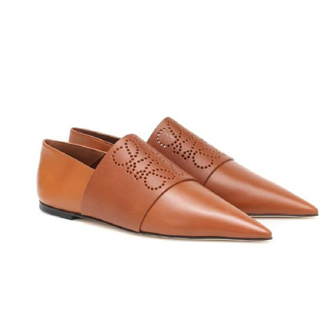 loewe anagram leather loafers