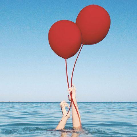 Balloon, Water, Sky, Heart, Love, Calm, Sea, Fun, Valentine's day, Cloud,