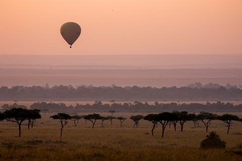 Hot air ballooning, Sky, Morning, Savanna, Natural environment, Hot air balloon, Safari, Plain, Ecoregion, Cloud,