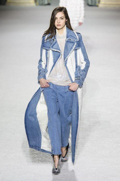 Denim, Clothing, Jeans, Fashion, Fashion model, Fashion show, Runway, Textile, Outerwear, Street fashion,