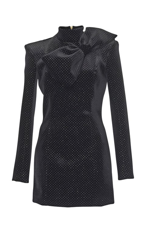 Clothing, Black, Sleeve, Dress, Outerwear, Shoulder, Cocktail dress, Little black dress, Day dress, Pattern,