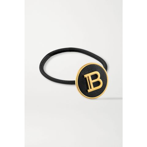balmain paris hair couture gold plated and leather hair tie