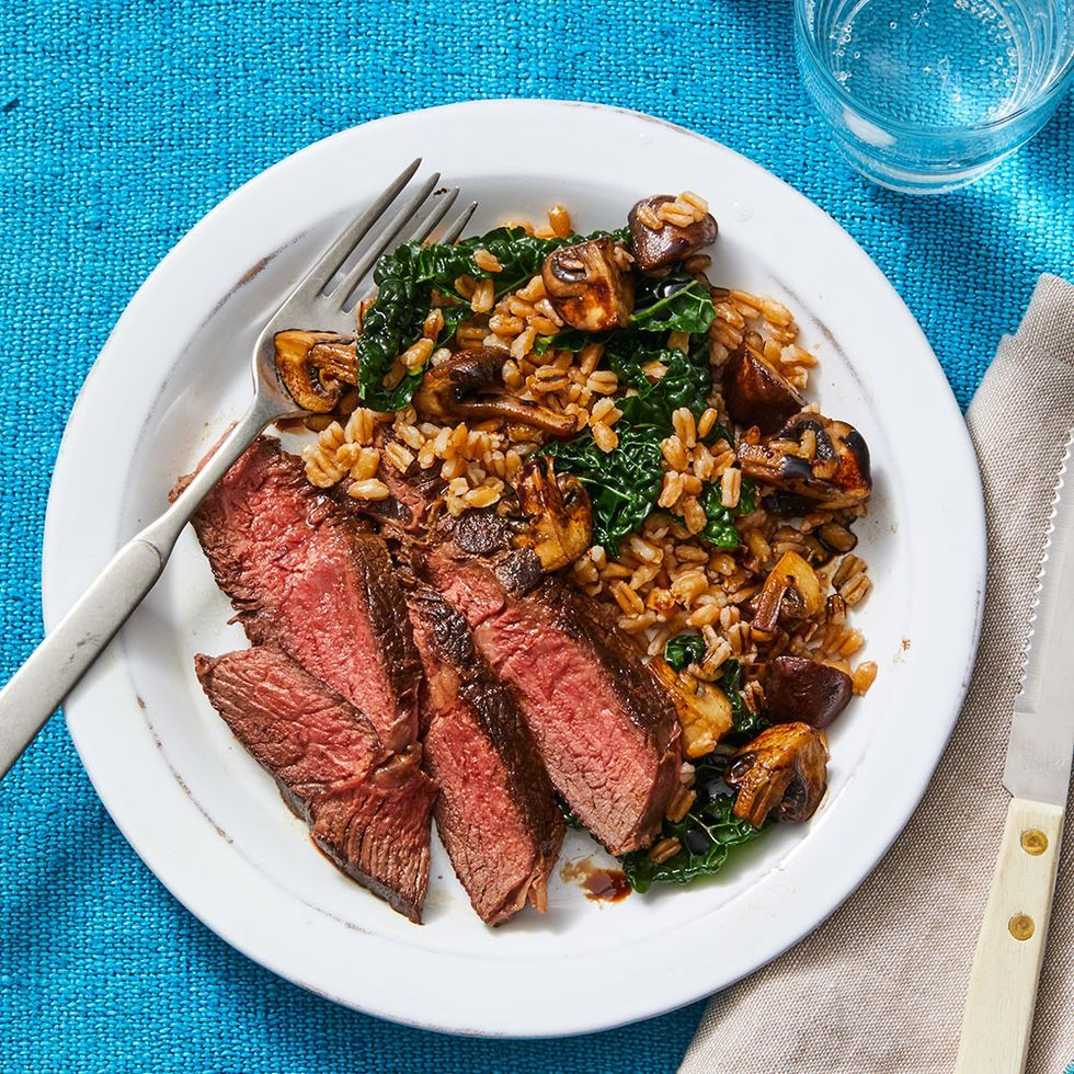 Balsamic-Glazed Sirloin with Farro Pilaf