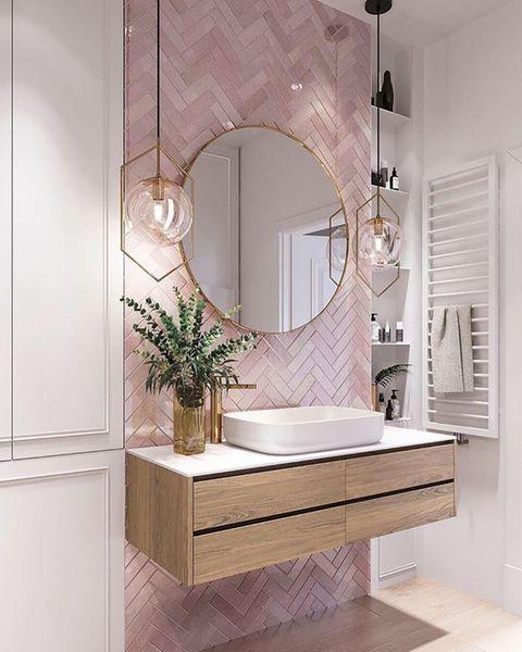baño actual rosa con lavabo voladizo en pinterest
