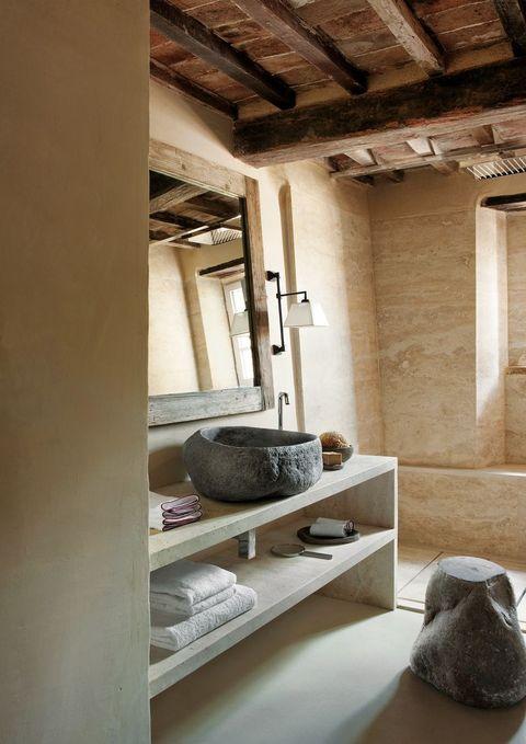 Cuarto de baño de estilo rústico - Aseo con look rural