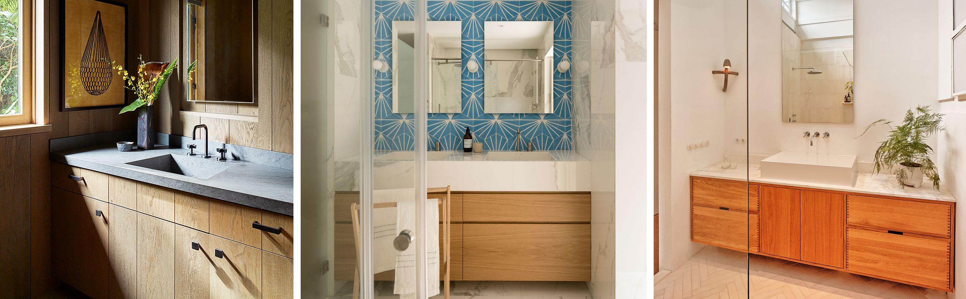 Los baños más cálidos con muebles de madera