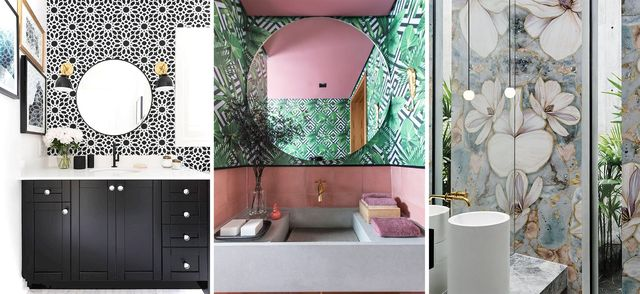 tendencias para baños con papel pintado