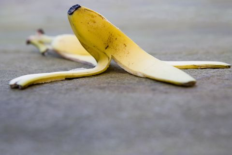 Banana skin on pavement