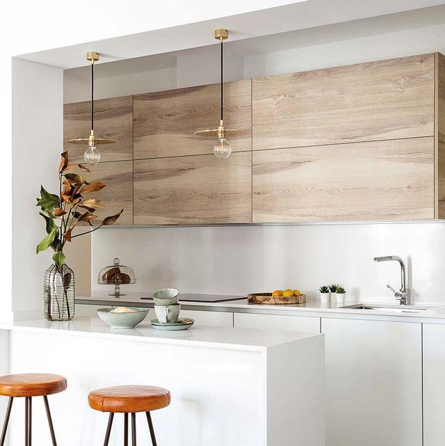 White, Countertop, Furniture, Room, Kitchen, Bar stool, Interior design, Property, Yellow, Stool,