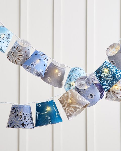 bandana covered cups string lights