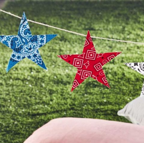 garland made of bandanas cut into stars