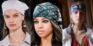 Modellen met bandana's, gedragen tijdens verschillende modeweken in 2020.