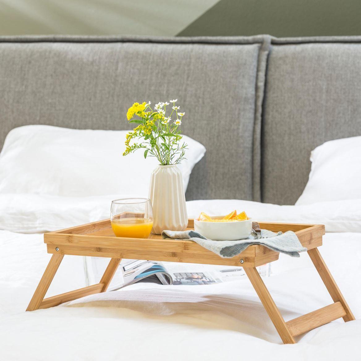 Bandeja de cama de bambú
