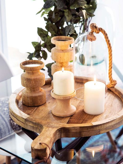 Decorar mesa de centro: Piezas de madera