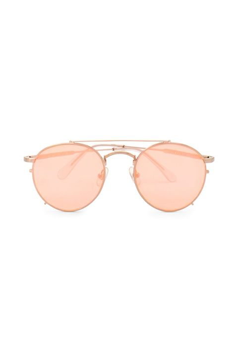 Eyewear, Sunglasses, Glasses, Personal protective equipment, Pink, aviator sunglass, Vision care, Peach, Brown, Material property,