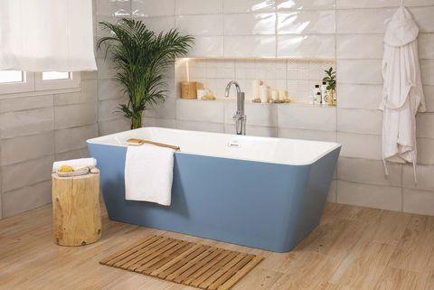 bañera exenta moderna azul