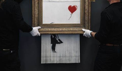 Red, Standing, Room, Gesture, Art, Visual arts, Photography, Formal wear, Picture frame, Tuxedo,