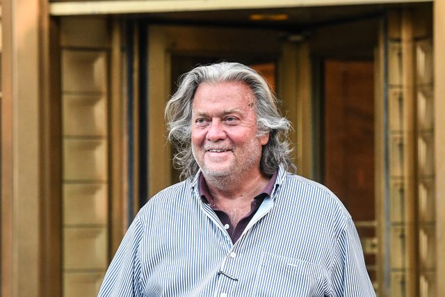 new york, ny   august 20 former white house chief strategist steve bannon exits the manhattan federal court on august 20, 2020 in the manhattan borough of new york city bannon and three other defendants have been indicted for allegedly defrauding donors in a 25 million border wall fundraising campaign photo by stephanie keithgetty images