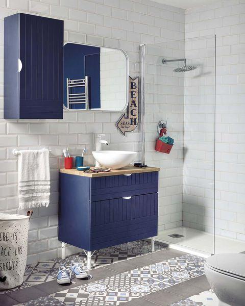 muebles de baño azul