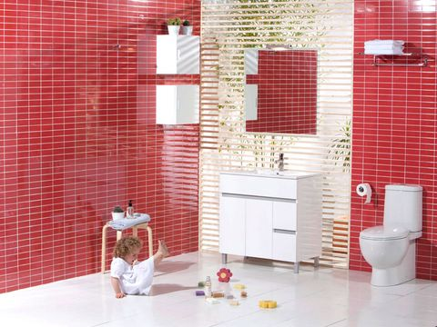 Tile, Red, Room, Bathroom, Floor, Pink, Brick, Interior design, Wall, Property,