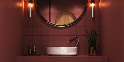 Baño decorado en color burdeos